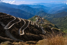 Curvy roads in Sikkim, India